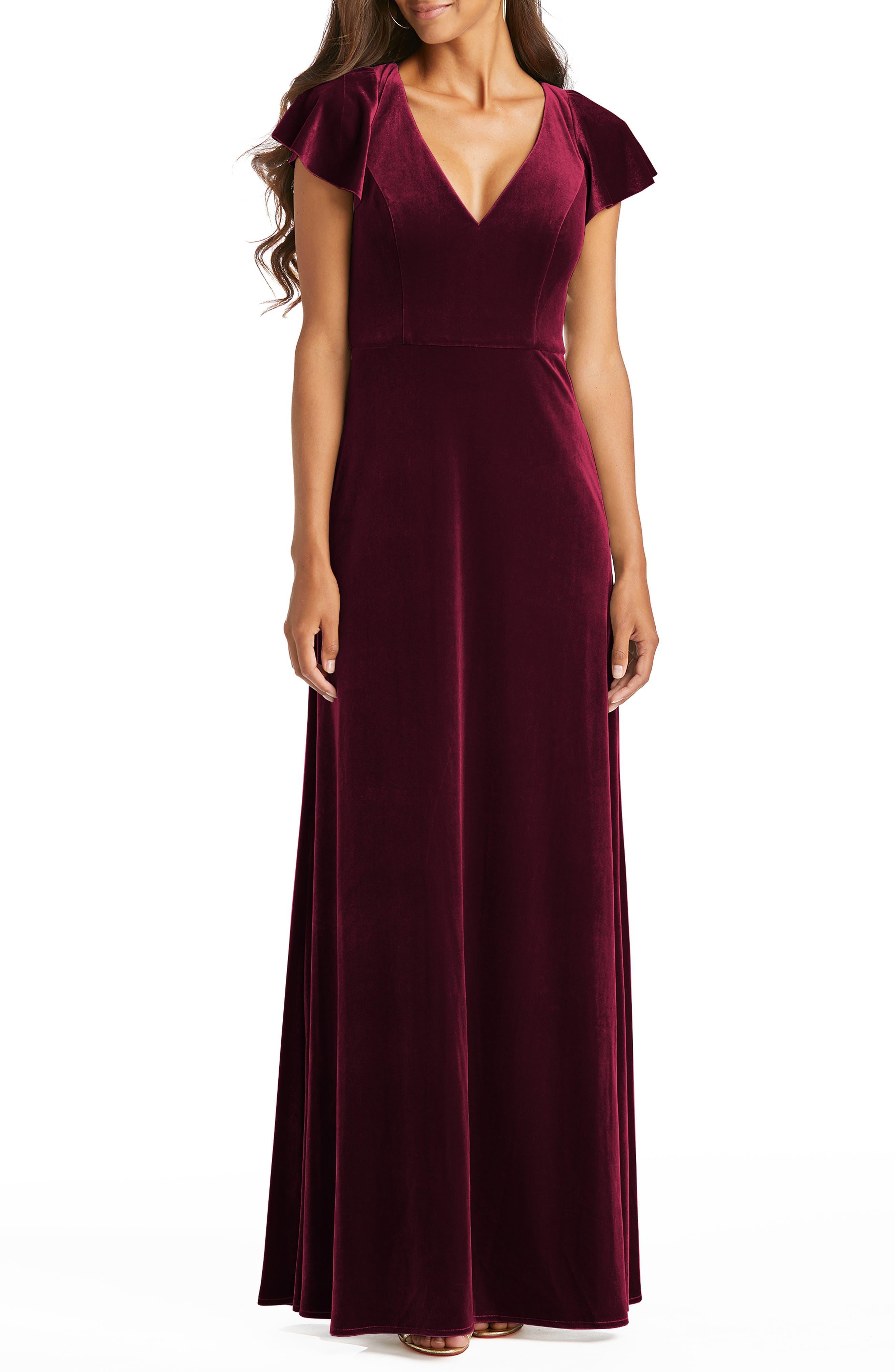 Flutter Sleeve Velvet Gown