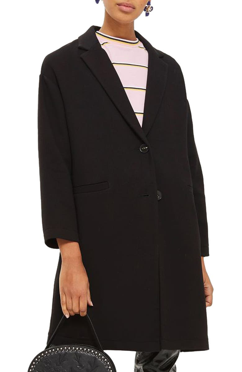 TOPSHOP Twill Ponte Topcoat, Main, color, 001