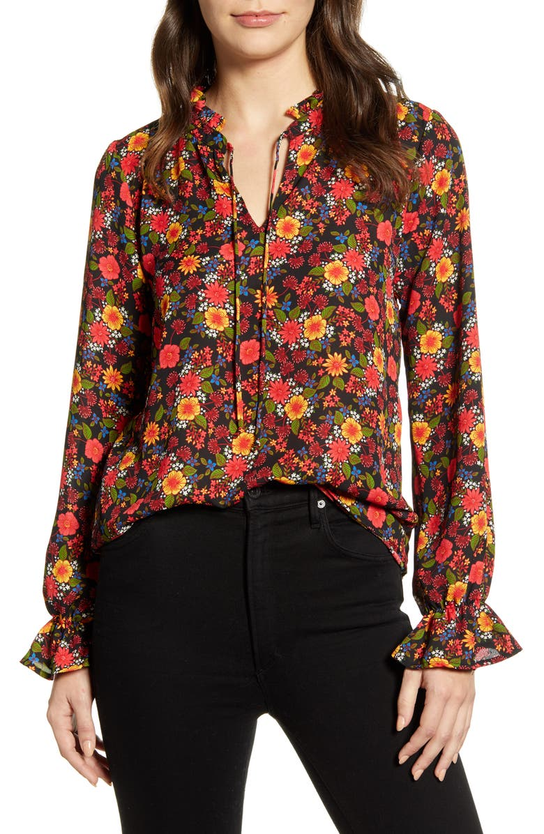 BOBEAU Print Tie Neck Blouse, Main, color, BLACK RED FLORAL