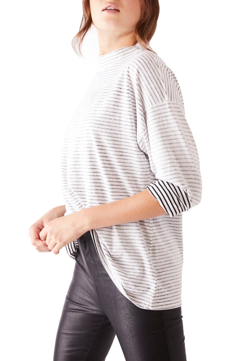 FREE PEOPLE Be Free Mock Neck Stripe Tunic, Main, color, IVORY/ BLACK COMBO