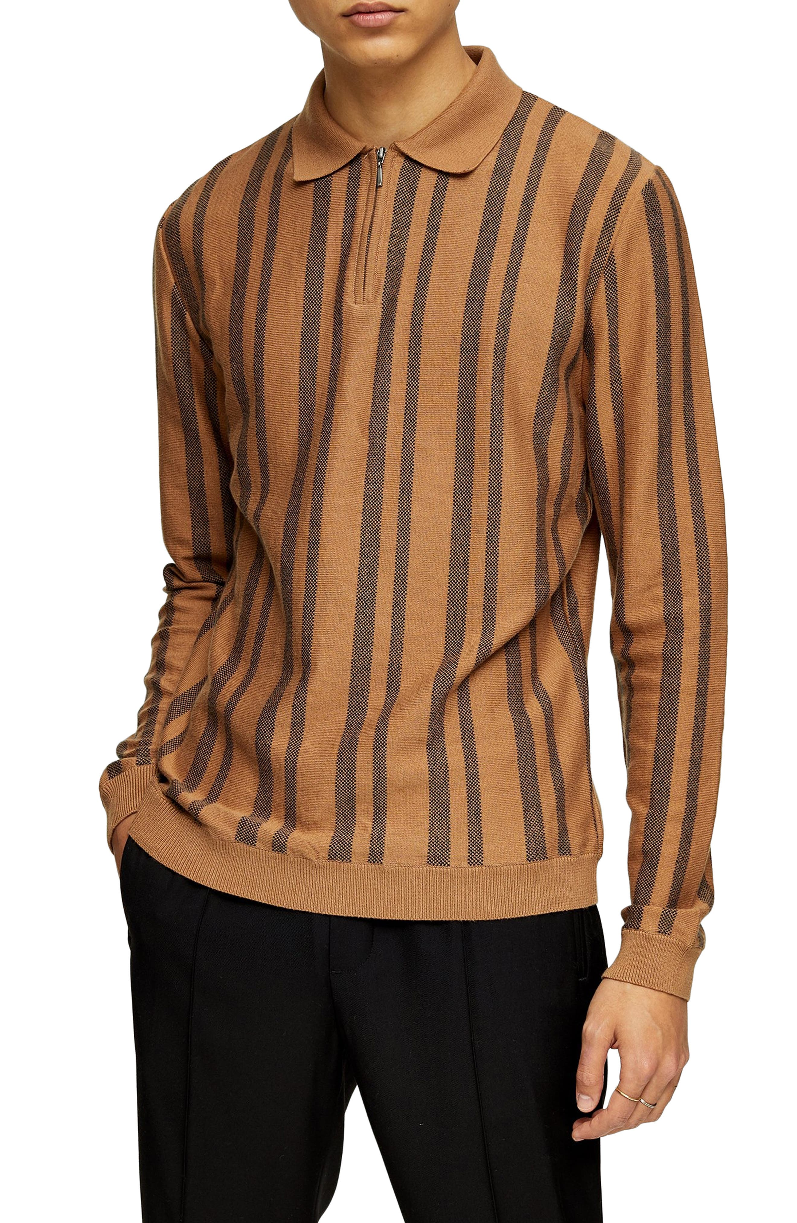 1960s Men's Clothing Mens Topman Stripe Long Sleeve Zip Polo $32.98 AT vintagedancer.com