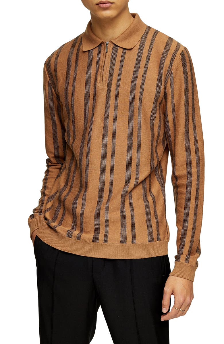 TOPMAN Stripe Long Sleeve Zip Polo, Main, color, BEIGE MULTI