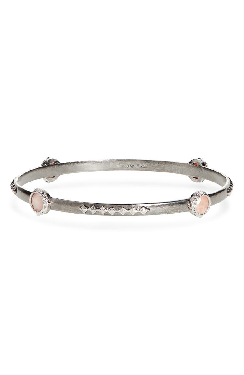 ARMENTA New World Bezel Set Bangle, Main, color, PEACH AND SILVER
