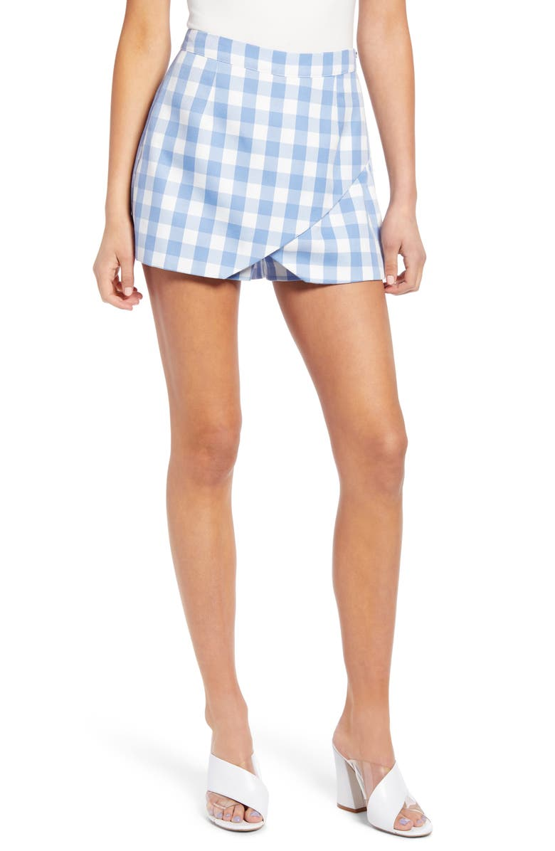 ENGLISH FACTORY Gingham Envelope Skort, Main, color, BLUE