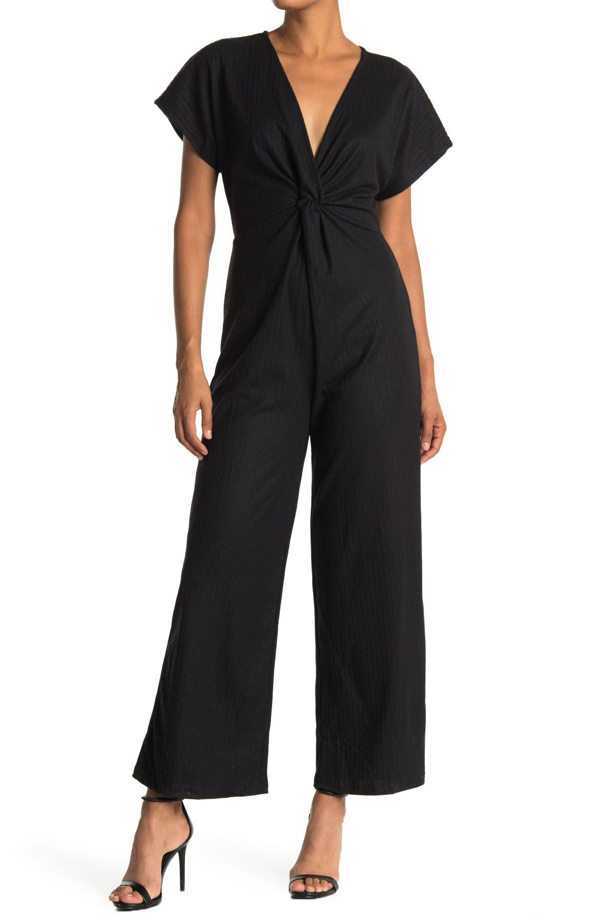 Image of Angie Rib Knit Twist Front Jumpsuit
