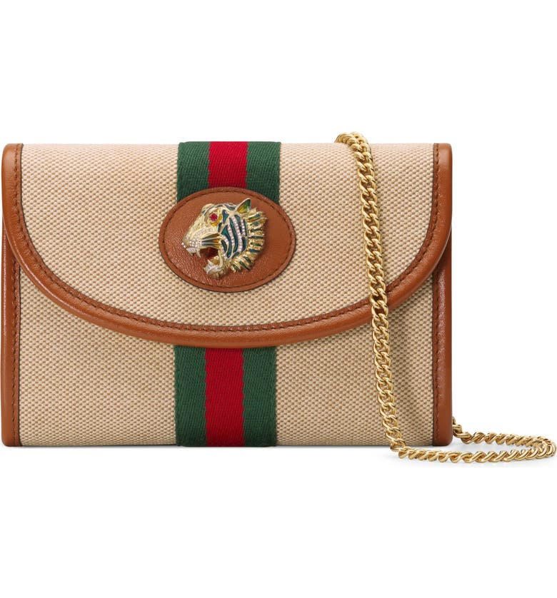 GUCCI MiniCanvas Crossbody Bag, Main, color, SAND/ LIT CUIR/ VERT RED MULTI