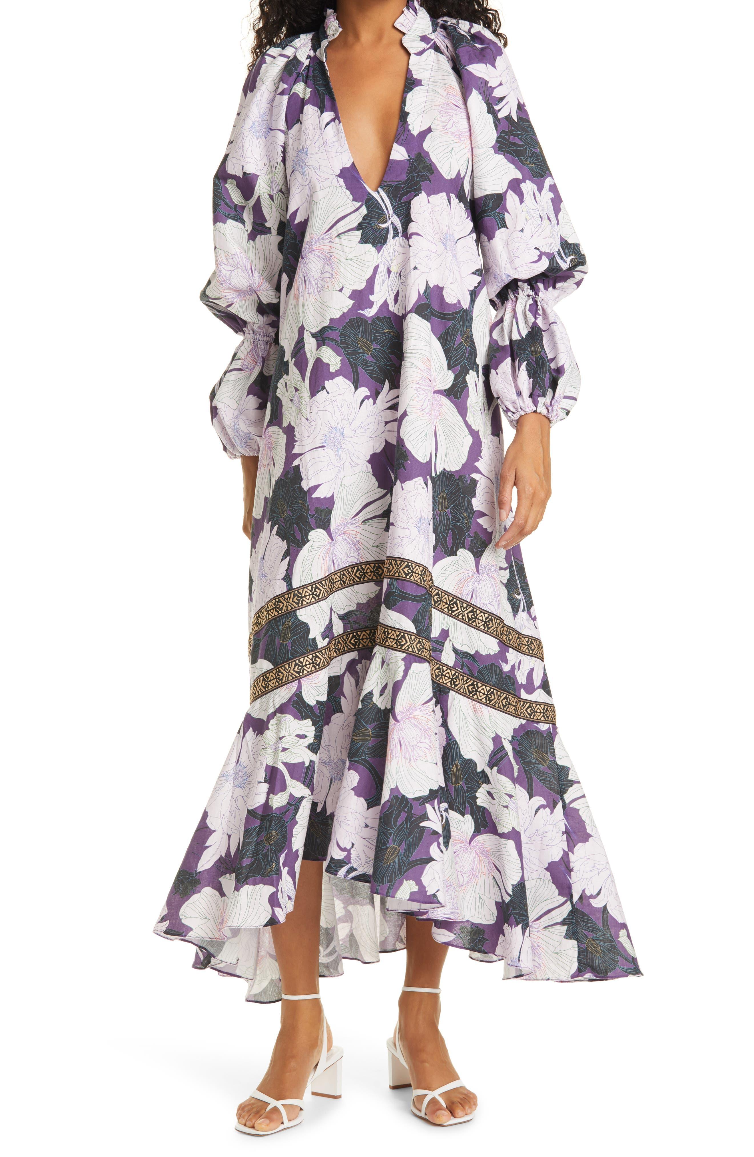 Manantiales Long Sleeve Linen & Cotton Caftan Dress