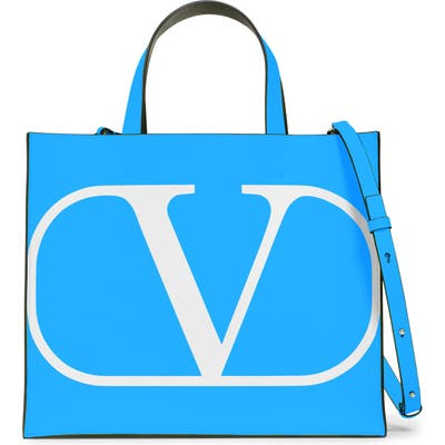 Valentino Garavani Small Vlogo Leather Tote - Blue