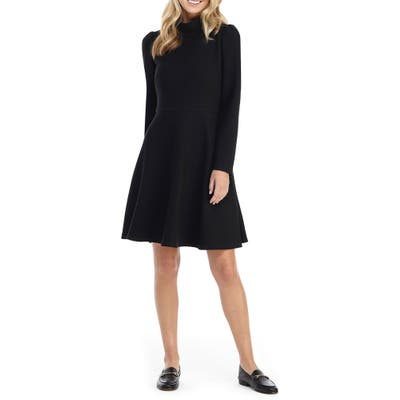 Gal Meets Glam Collection Harlow Long Sleeve Rib Knit Dress, 0 (similar to 16W-18W) - Black