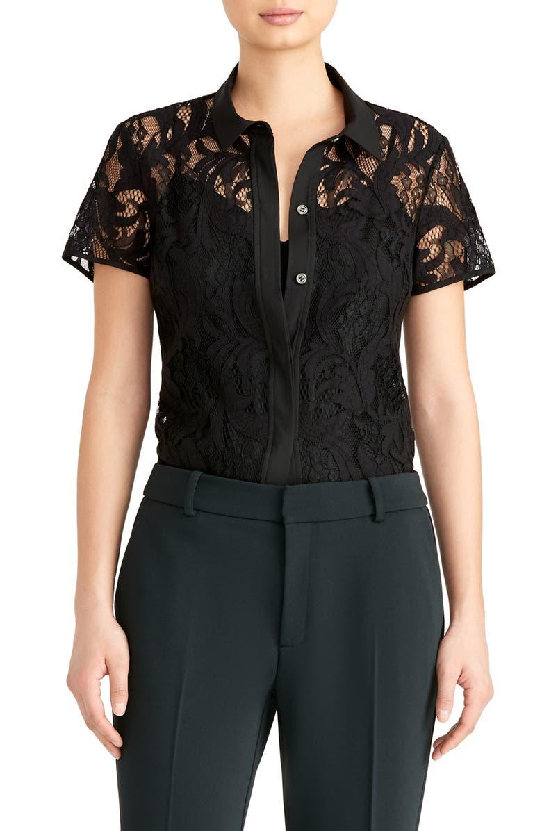 RACHEL ROY COLLECTION Short Sleeve Lace Blouse, Main, color, 001