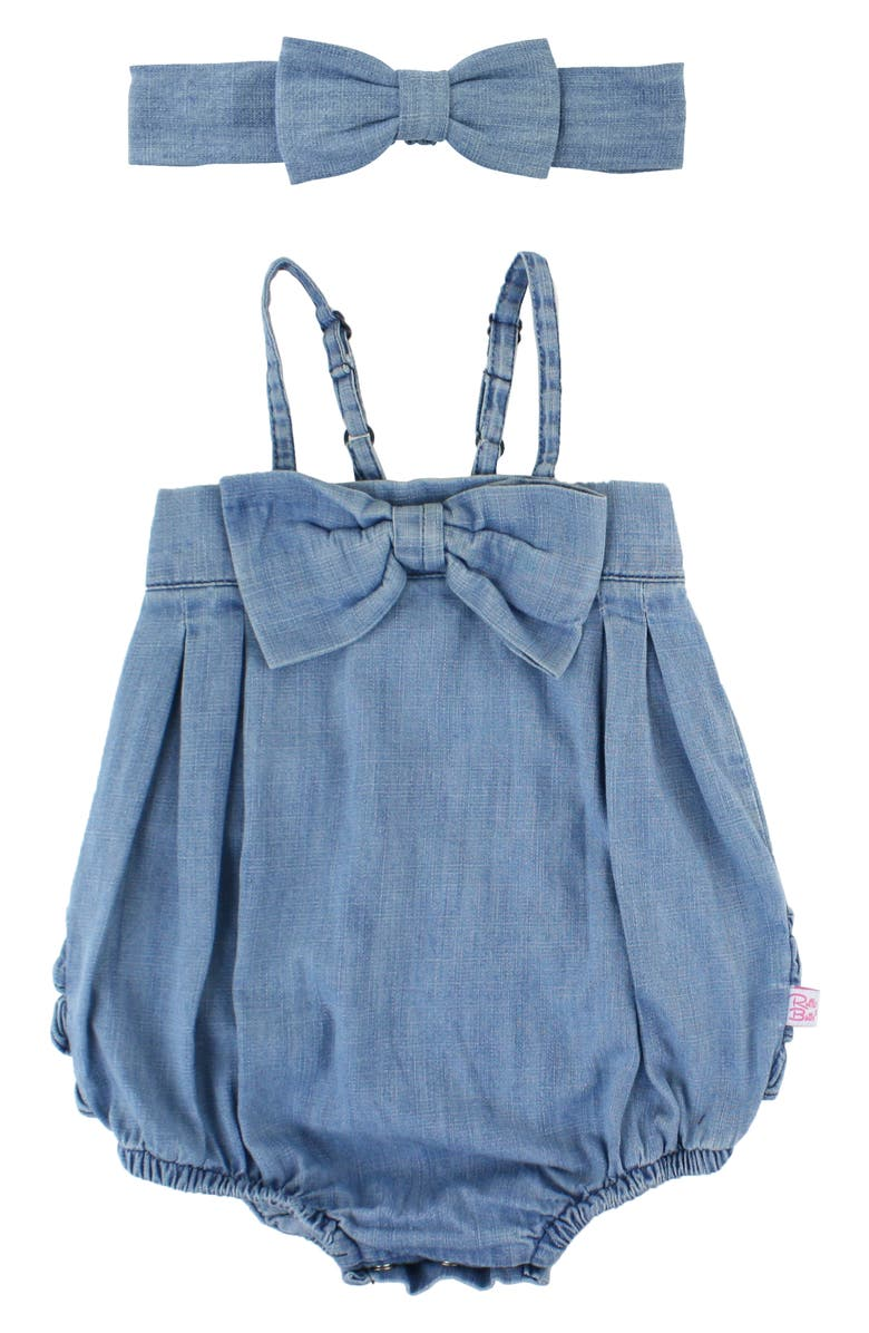 RUFFLEBUTTS Denim Bubble Romper & Head Wrap Set, Main, color, DENIM