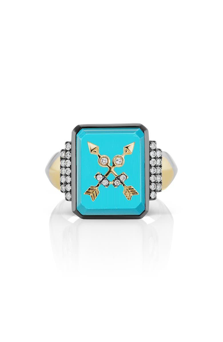 SORELLINA Signet Ring, Main, color, YELLOW GOLD/ BLUE