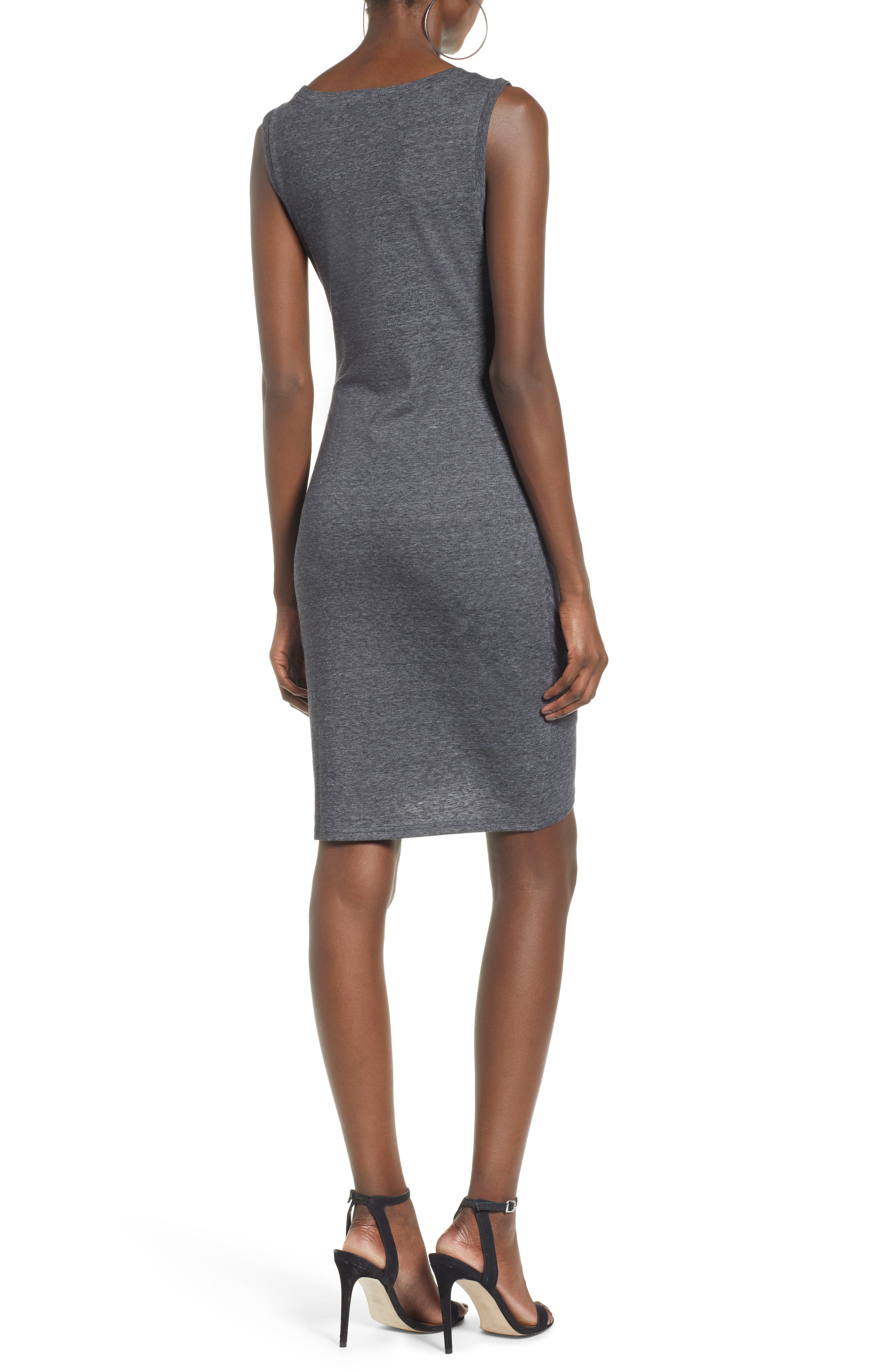 ,                             Ruched Body-Con Tank Dress,                             Alternate thumbnail 2, color,                             GREY MEDIUM CHARCOAL HEATHER