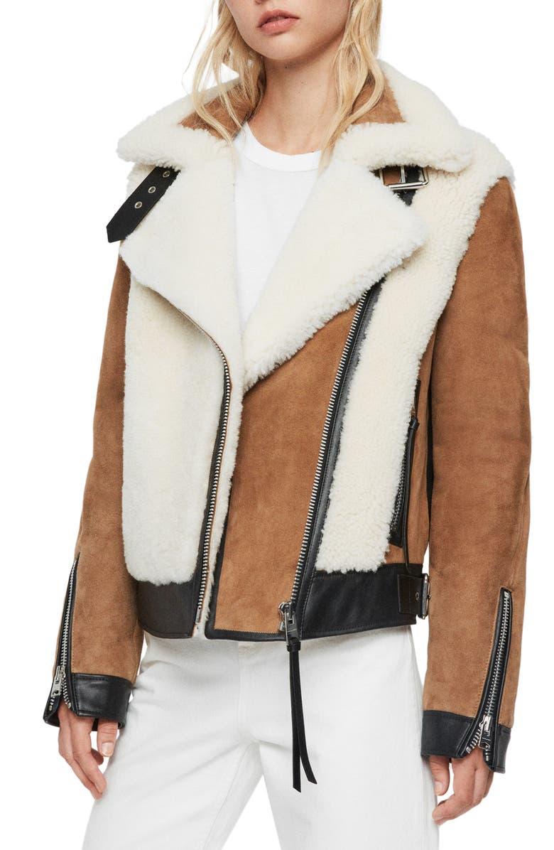 ALLSAINTS Elisa Genuine Shearling & Leather Coat, Main, color, 230