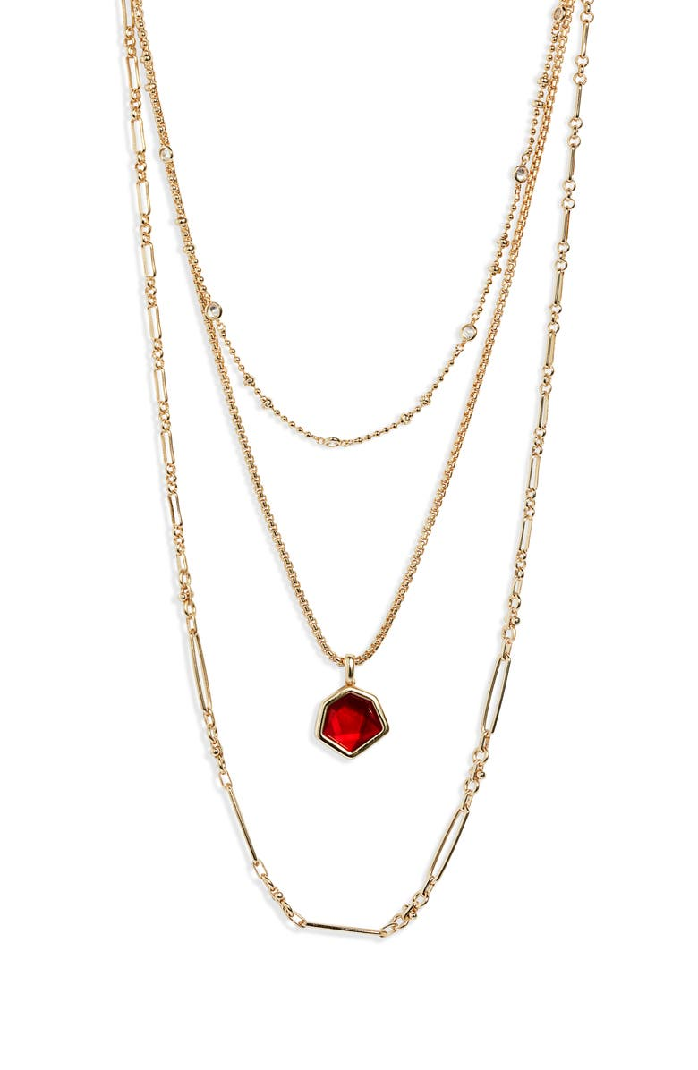 KENDRA SCOTT Vanessa Multistrand Necklace, Main, color, GOLD/ CHERRY RED ILLUSION