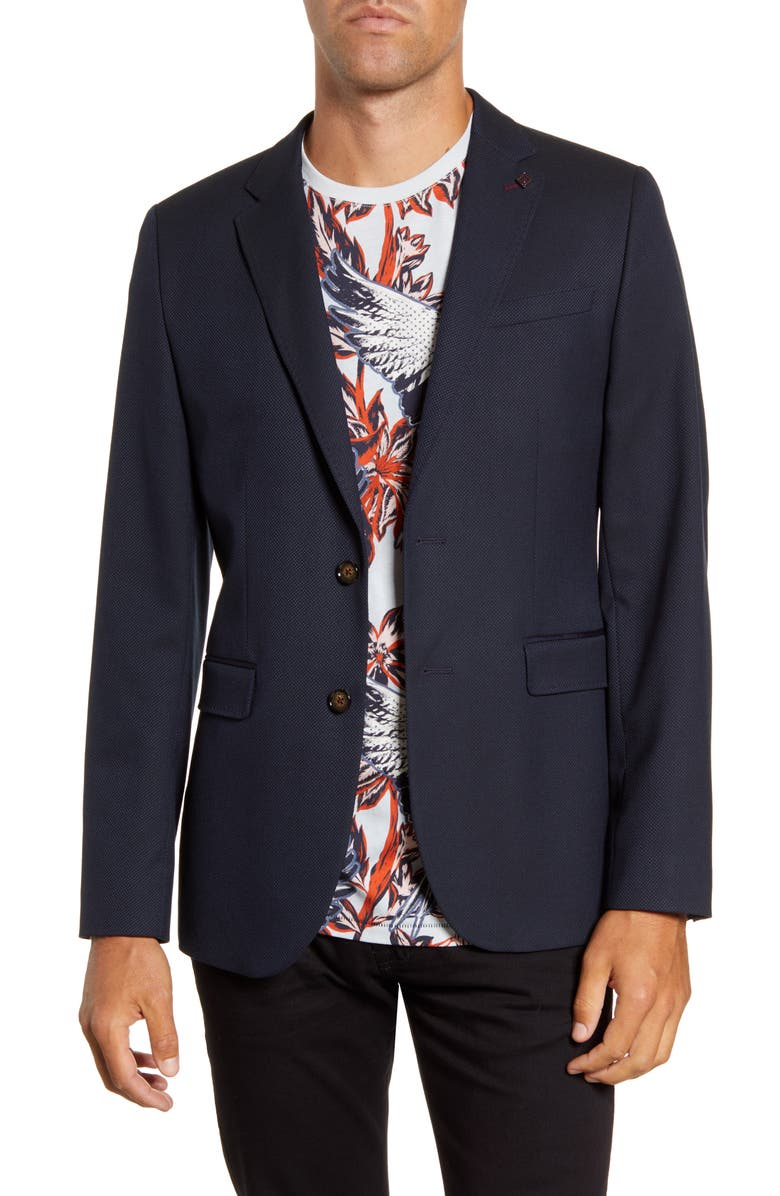 TED BAKER LONDON Slim Fit Textured Sport Coat, Main, color, NAVY