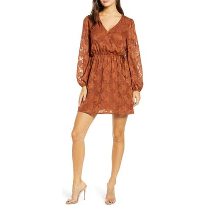 All In Favor Floral Jacquard Wrap Front Long Sleeve Minidress, Brown
