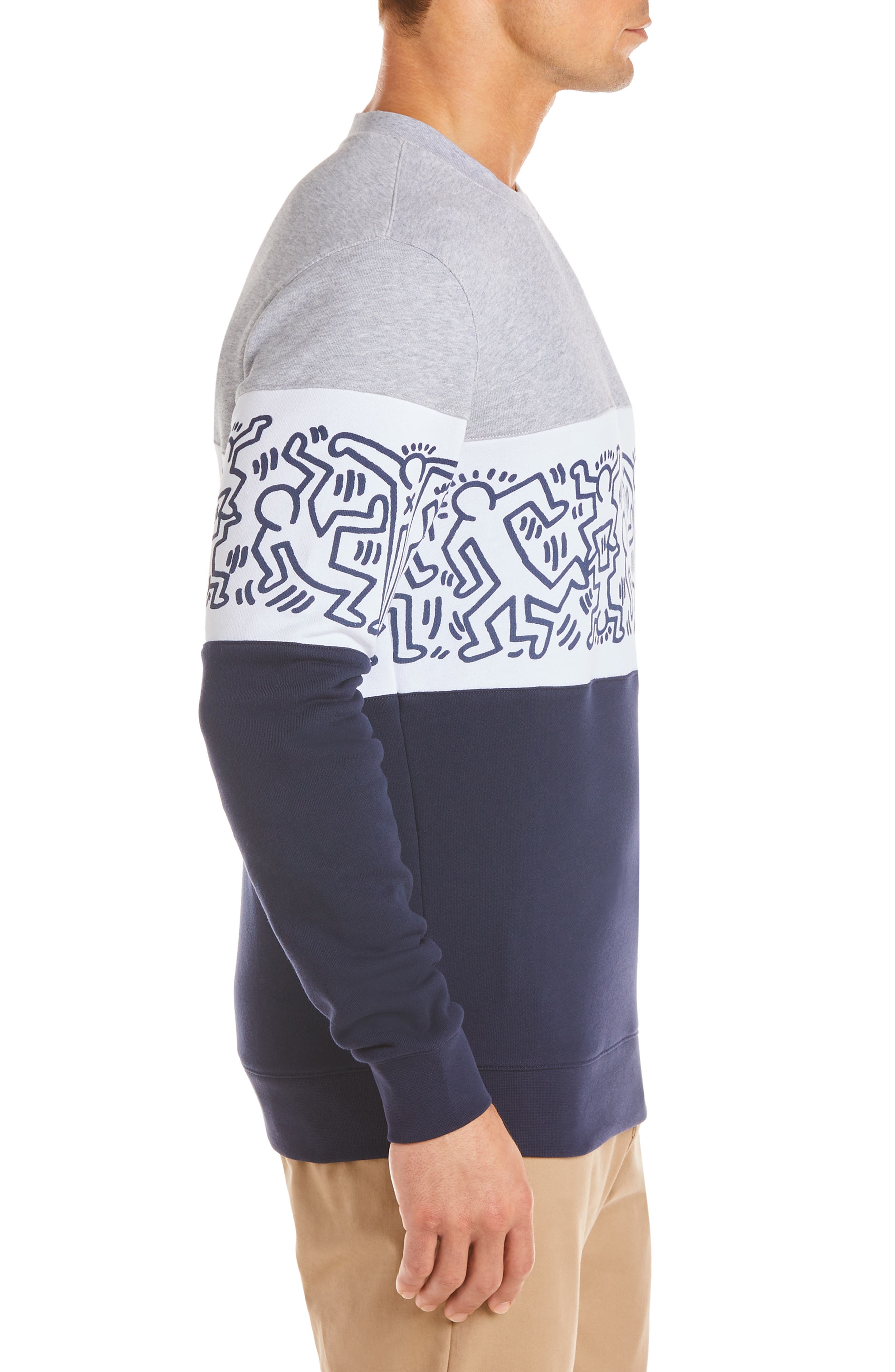 ,                             x Keith Haring Colorblock Sweatshirt,                             Alternate thumbnail 3, color,                             NAVY BLUE/ WHITE-SILVER CHINE