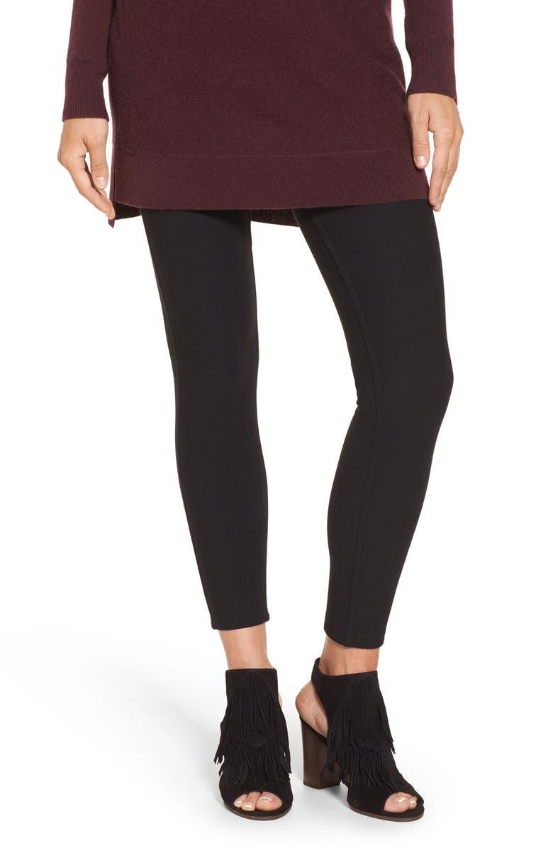 HUE Fleece Lined Leggings, Main, color, 001