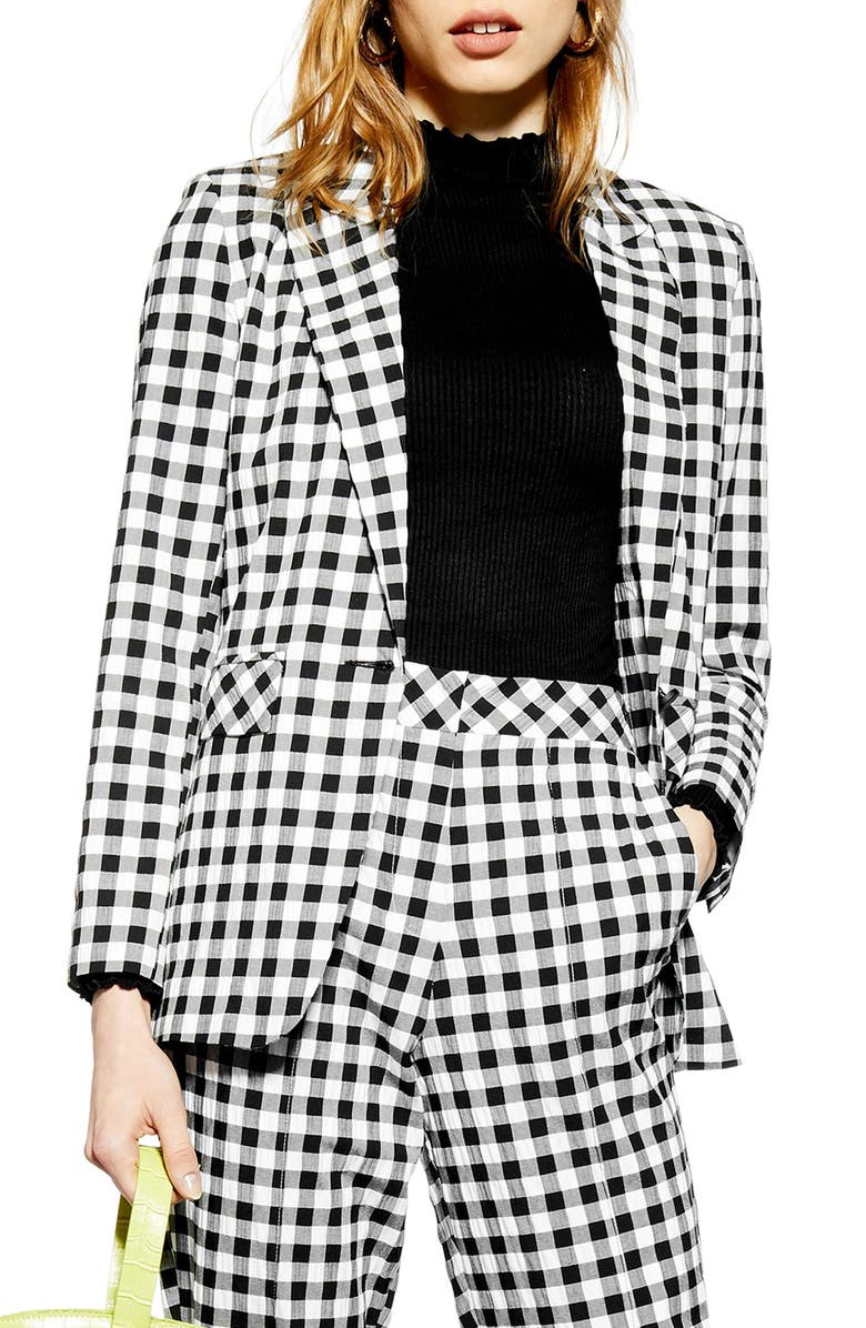 TOPSHOP Gingham Blazer, Main, color, 002