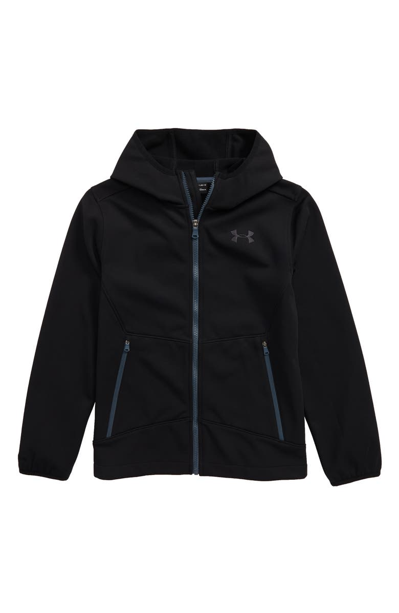 UNDER ARMOUR Sim ColdGear<sup>®</sup> Hooded Soft Shell Jacket, Main, color, BLACK