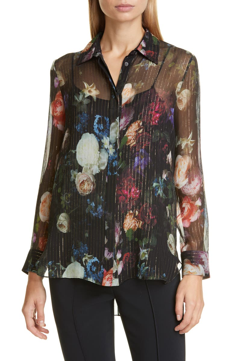 ADAM LIPPES Floral Print Metallic Silk Chiffon Blouse, Main, color, MULTI FLORAL