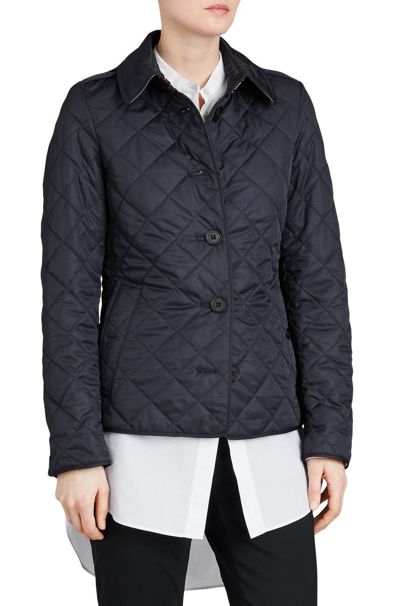 BURBERRY Frankby Quilted Jacket, Main, color, NAVY