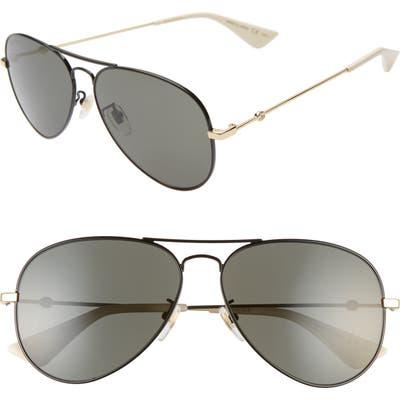 Gucci 60Mm Aviator Sunglasses - Black/ Black/ Gold