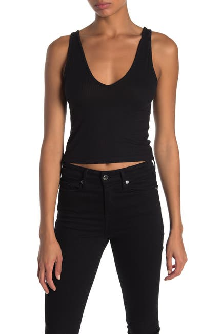 Image of Abound Double V-Neck Ribbed Crop Tank Top