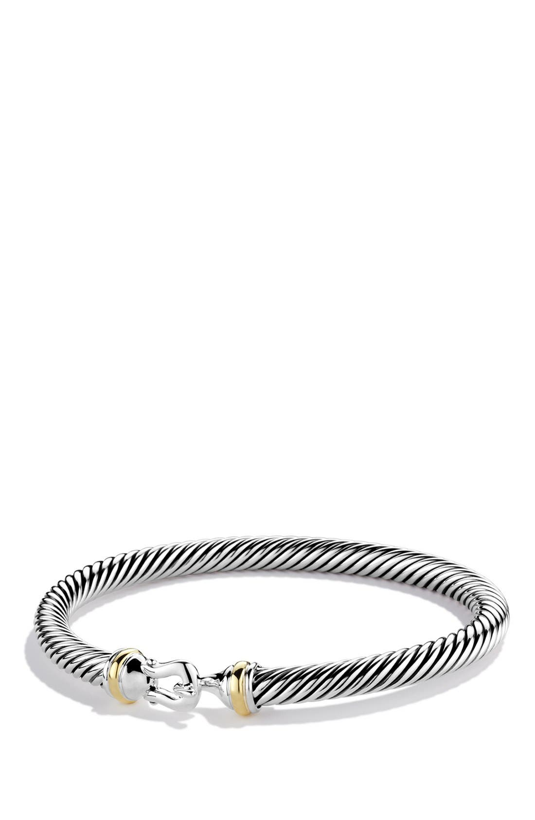 ,                             Cable Classic Buckle Bracelet with 18K Gold, 5mm,                             Main thumbnail 1, color,                             TWO TONE