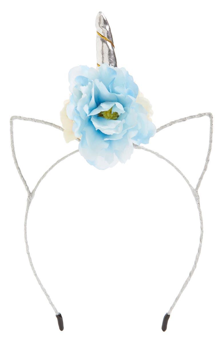 MANIÈRE Unicorn Flower Headband, Main, color, SILVER/ BLUE