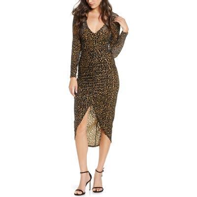 Bb Dakota Better To Burnout Leopard Print Long Sleeve Dress, Brown