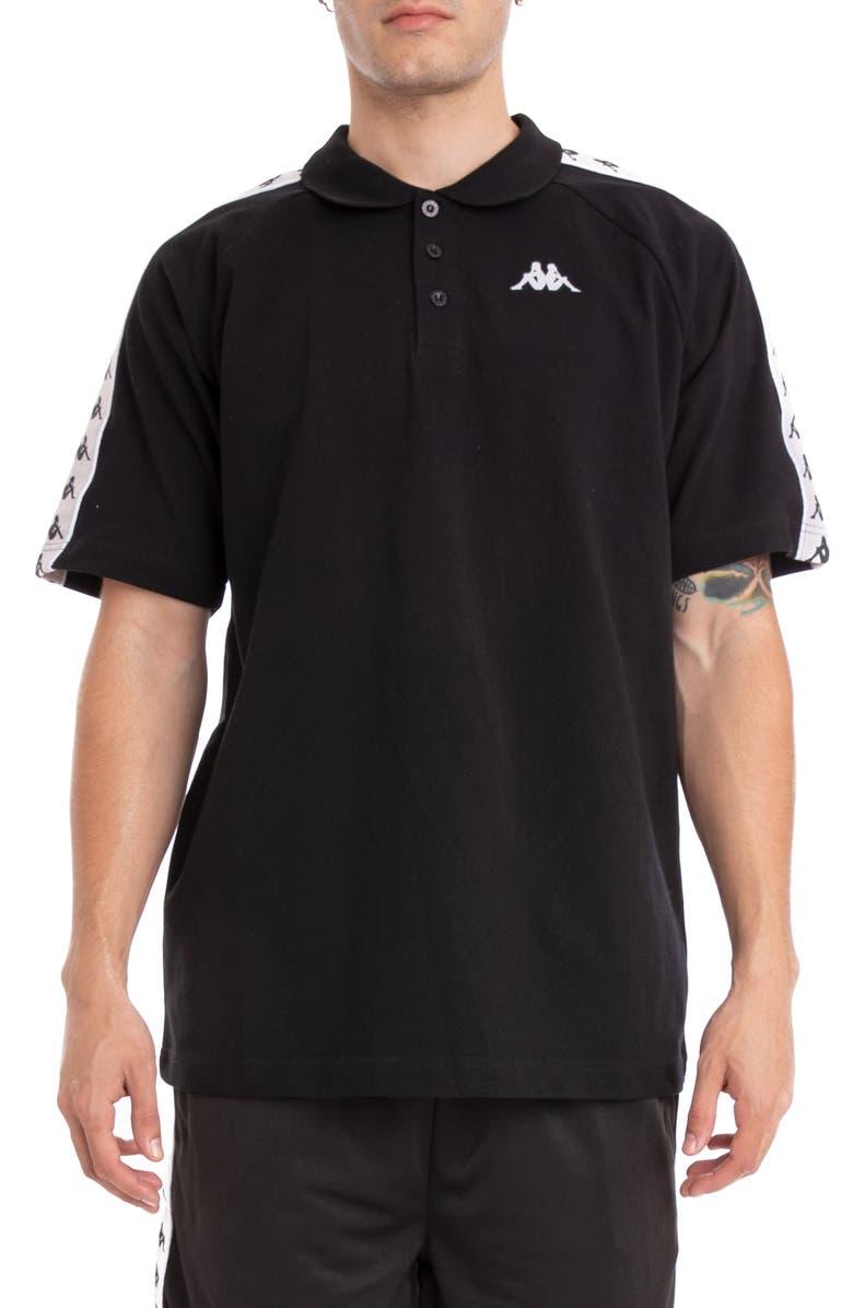 KAPPA 222 Banda Calsi Piqué Polo, Main, color, BLACK/ SILVER/ WHITE