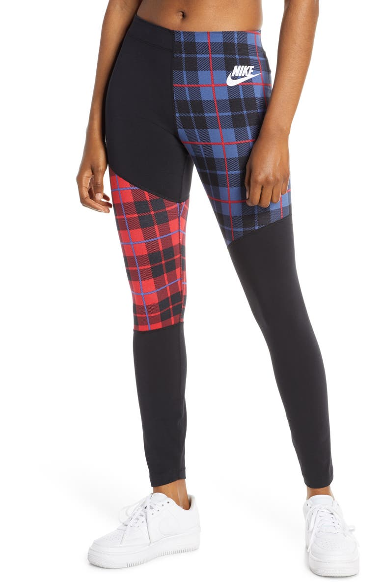 NIKE Sportswear Plaid Leggings, Main, color, BLACK/ WHITE