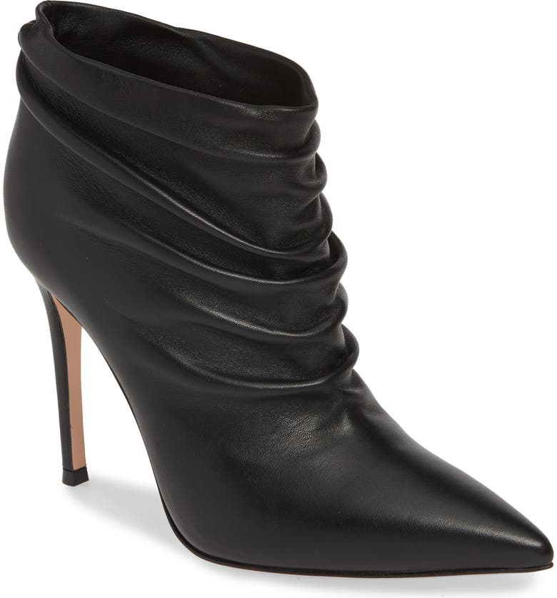 GIANVITO ROSSI Scrunch Front Bootie, Main, color, BLACK LEATHER