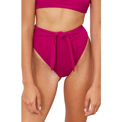 Mara Hoffman Goldie High Waist Bikini Bottoms, Pink