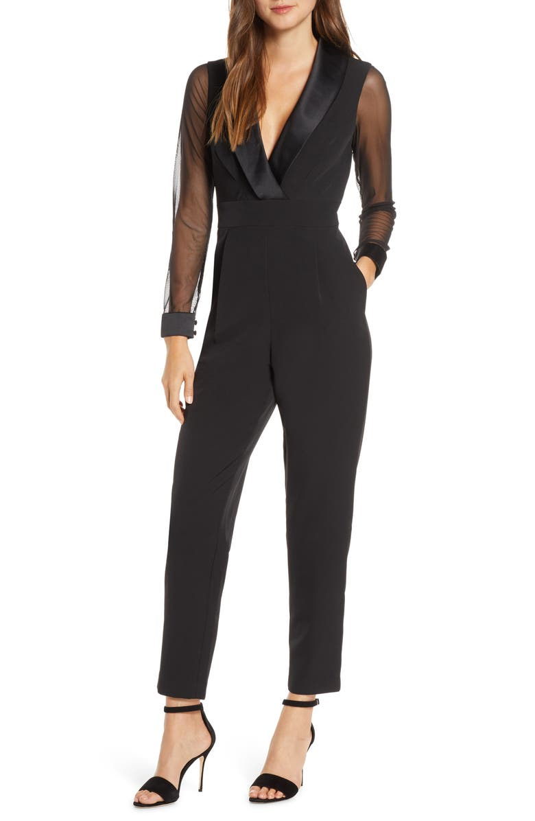 ELIZA J Tuxedo Collar Long Sleeve Jumpsuit, Main, color, BLACK