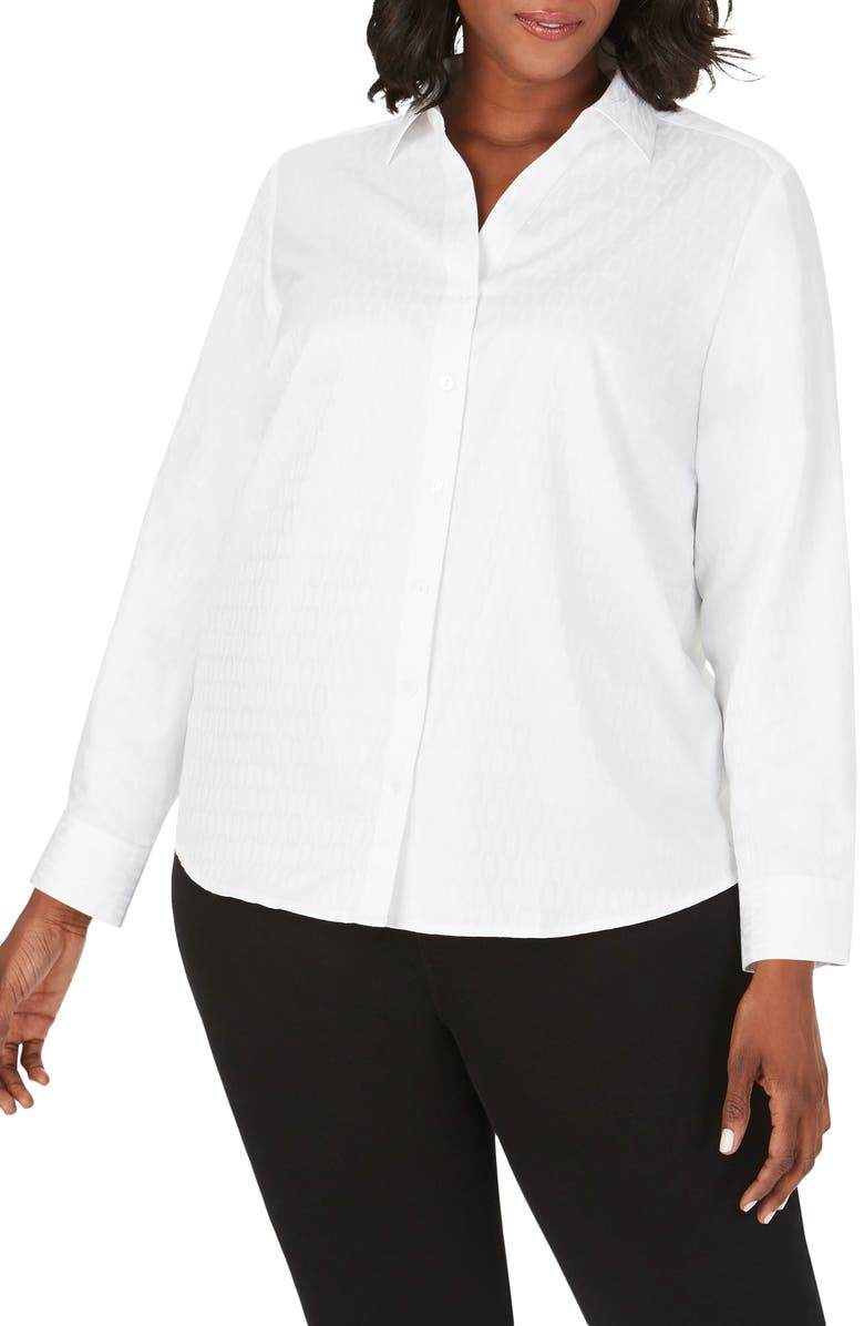 FOXCROFT Chrissy Wrinkle Free Chain Jacquard Shirt, Main, color, WHITE