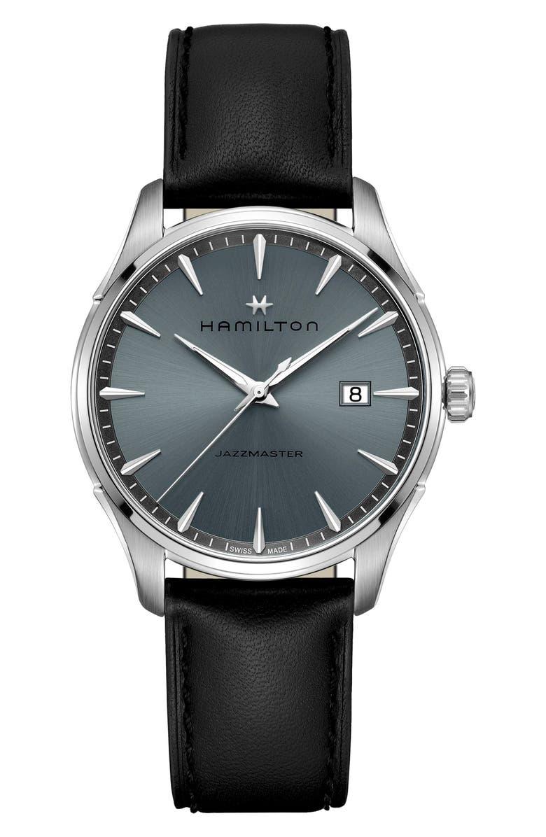 HAMILTON Jazzmaster Gent Leather Strap Watch, 40mm, Main, color, BLACK/ BLUE/ SILVER