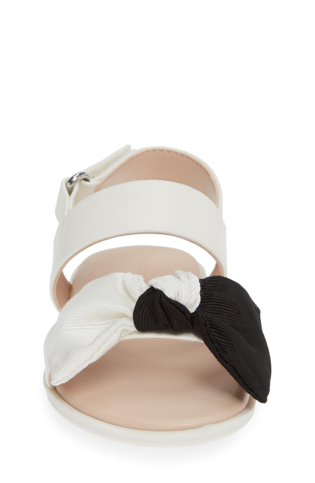 ,                             Chelsea Bow Sandal,                             Alternate thumbnail 4, color,                             WHITE/BLACK FAUX LEATHER