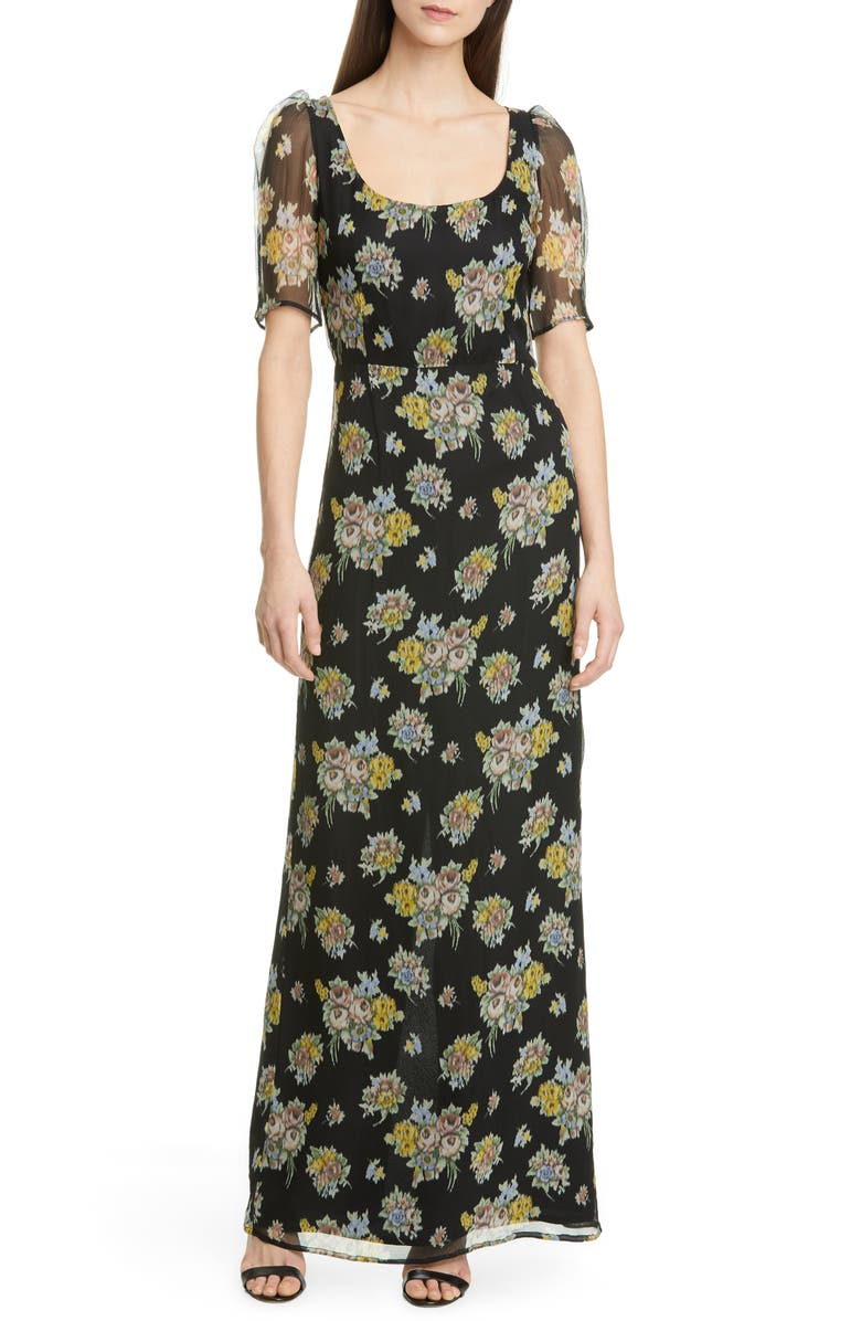 BROCK COLLECTION Floral Print Maxi Dress, Main, color, BLACK