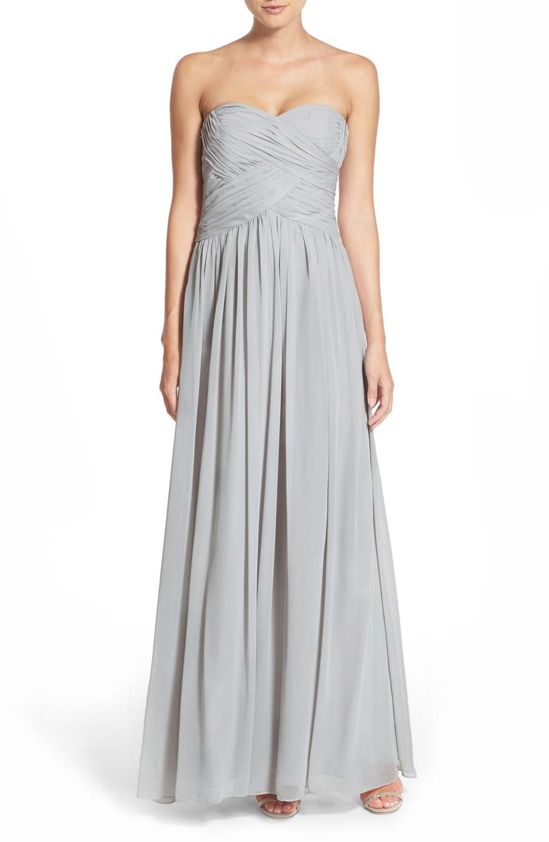 JS BOUTIQUE Strapless Ruched Chiffon Gown, Main, color, 021
