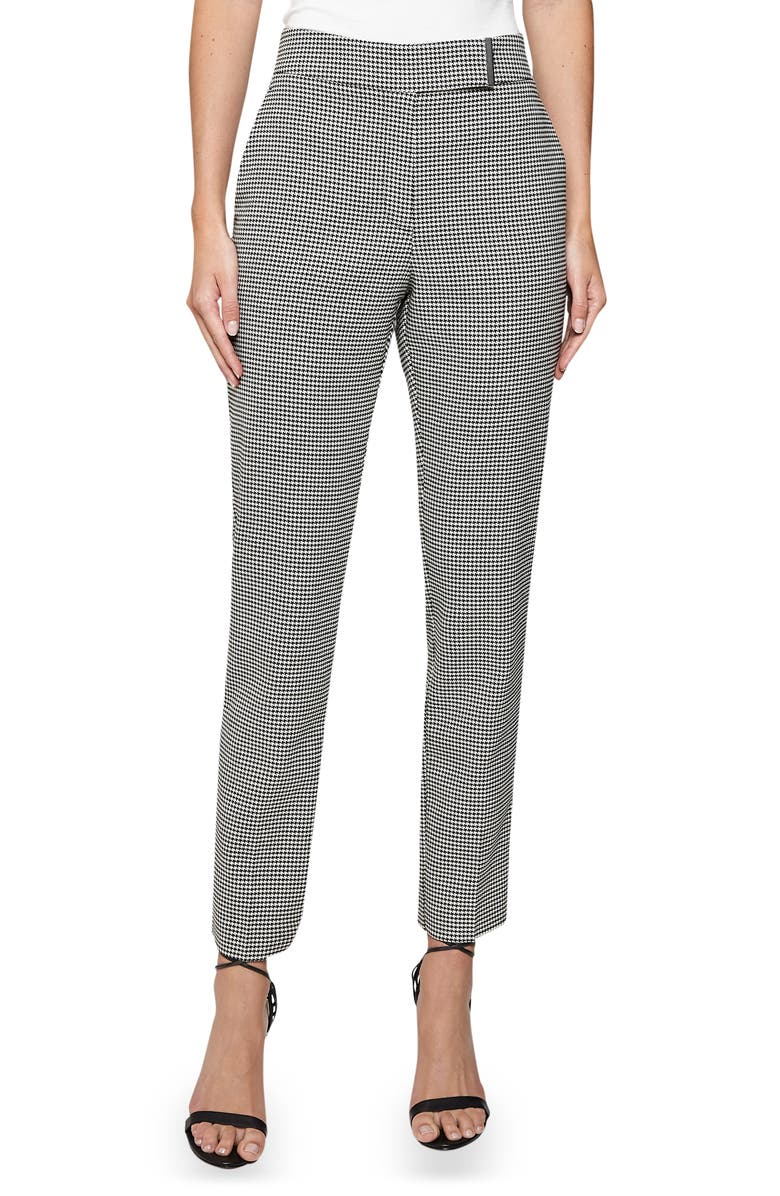 REISS Arlo Puppytooth Check Trousers, Main, color, MONOCHROME