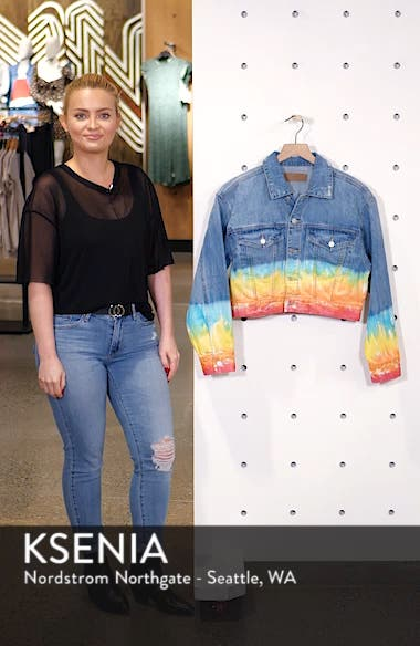 Tie Dye Hem Crop Denim Jacket, sales video thumbnail