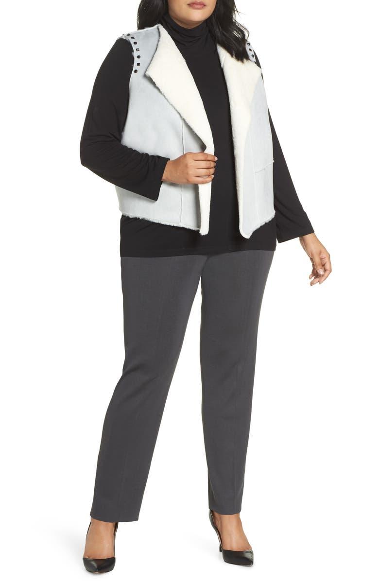 MING WANG Faux Fur Vest, Main, color, STONE CLIFF
