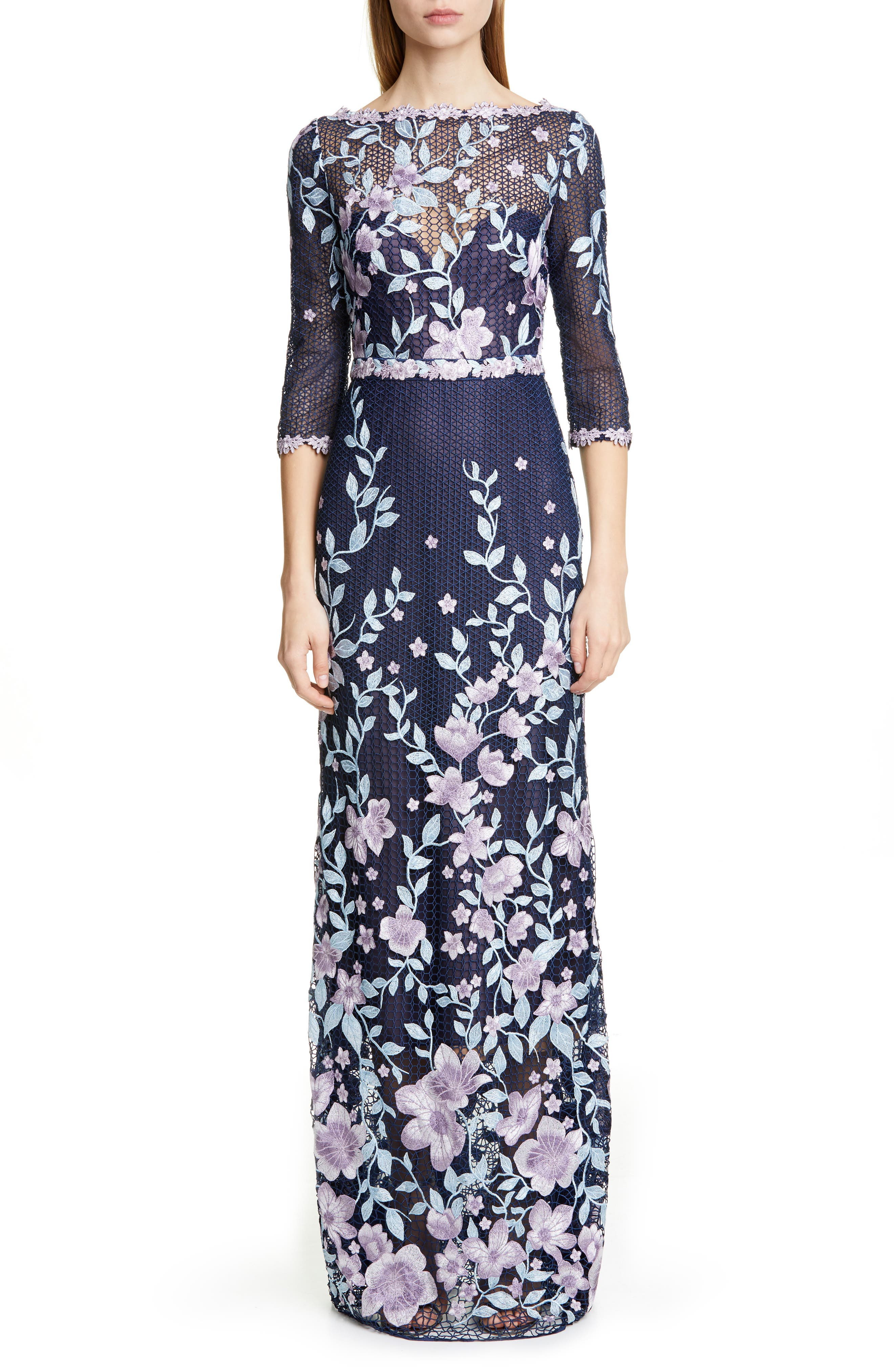Marchesa Notte Embroidered Floral Sheath Gown, Blue