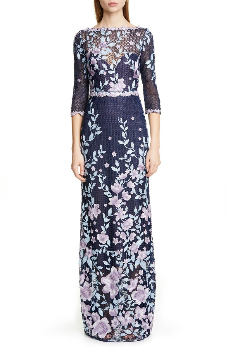 MARCHESA NOTTE Embroidered Floral Sheath Gown, Main, color, NAVY