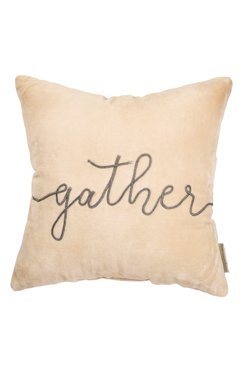 PRIMITIVES BY KATHY Gather Velvet Accent Pillow, Main, color, IVORY