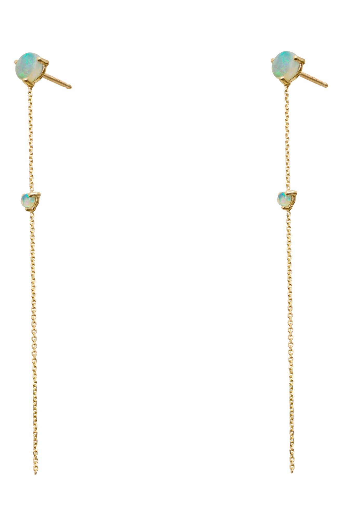 ,                             Opal Two-Stone Drop Earrings,                             Alternate thumbnail 2, color,                             14KT GOLD