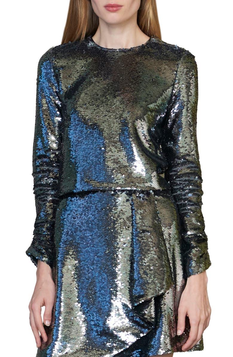 ML MONIQUE LHUILLIER Sequin Long Sleeve Blouse, Main, color, 040
